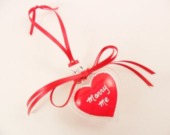 Valentine Heart Ornament Clear Glass Hand Painted Marry Me