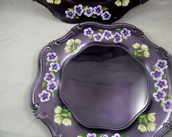 Charger Plate Purple Hand Painted Charger Plate Purple Flowers Yellow Rose Buds Underplate Set of 6