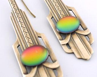 Art Deco Earrings - Rainbow Earrings - Vintage Earrings - Brass Earrings - handmade jewelry