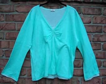J Jill Mint Green/White Long Sleeve Sweater