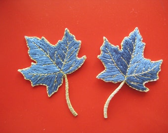 SALE~ 2 pcs Iron-on Patch Maple Leaf (blue) 2.25 inch