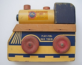 Vintage Train Wood Play Pen Rail Train