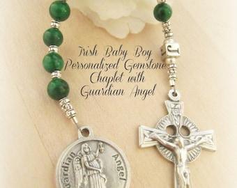 Catholic Irish Baby Boy Baptism Personalized Green Gemstone Chaplet with Guardian Angel