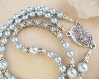 Beautiful Baby Boy Baptism Name Rosary with Guardian Angel