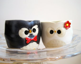 Customized Mr and Mrs Owl Shot Glasses Cake Toppers - Wedding Keepsake Newlywed Gift - Made to Order