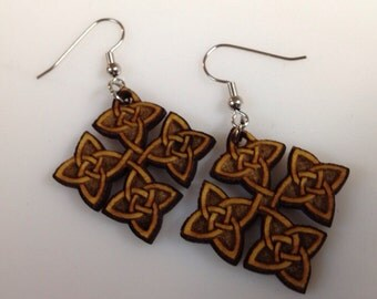 Dangle celtic knot earrings laser cut laser engraved