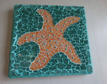 Starfish Mosaic Wall Hanging Beach Decor, Beach Cottage Home Decor Melon color,Turquoise beads