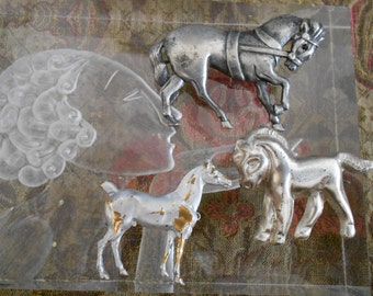 Group of 1940's Horse Pins