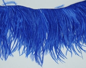 NEW Color - 4 inches - ROYAL BLUE Ostrich Fringe Trim ( Last 2 set in stock)