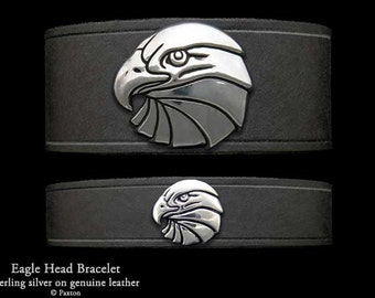 Eagle Head Leather Bracelet Sterling Silver Eagle Head on Leather Bracelet