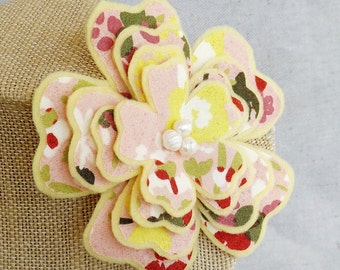 Flower Brooch in Pink, Yellow, and Rose Print