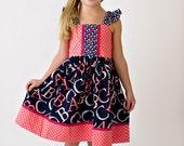 Girls Dress, Fall Dress, Back to School Dress, Girls ABC Dress, Toddler Dress,Preschool Dress,Pink, Sizes 12MO,18MO-24MO,2T,3T,4T,5T,6,7,8