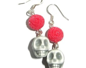 Grey Porcelain Skull with Pink Rose Dangle Earrings, Sterling Silver