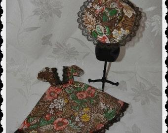 Vintage Sindy Pedigree 1970 Brown Floral Dress