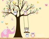 Children' s Nursery Wall vinyl decal with elephant owls birds swing girl pink