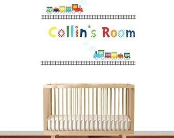 Children's Nursery Wall Vinyl Decal Train and Custom Monogram Set