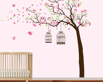 Wall Decal Tree with Birdcages, Bird, Birds, Baby Wall Decal - Nursery Wall Decal