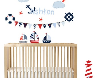 Vinyl Wall Decal Nautical Sailboat Nursery Wall Art Patterned Flag with lighthouse Vinyl Wall Decal Set red blue