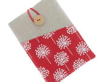 Kindle Paperwhite fabric case, Kindle Touch case, Kindle Fire sleeve, Kobo Aura pouch, Kobo Glo case, Kobo Touch sleeve, dandelion over red