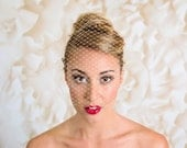 Champagne Bandeau Veil Wedding Blusher 9 inch French Net Birdcage Veil on Golden Color Bow Hair Pins with Red Rhinestones