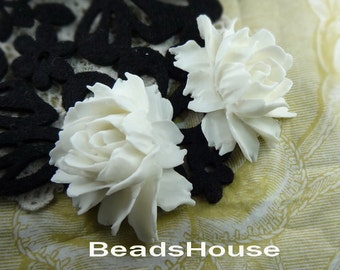 34-00-CA 2pcs Pretty Cabbage Rose Cabochon, Pure White