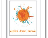 Children Room Nursery Explore Dream Discover Print - Printable Mark Twain quote - around the world travel print