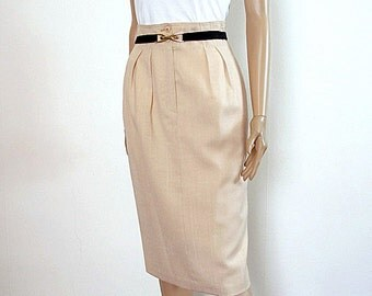 Vintage 1980s Skirt Tan Beige High Waist Pencil Wiggle Skirt / Small