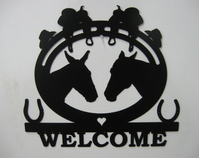 Horses Western Welcome Metal Sign