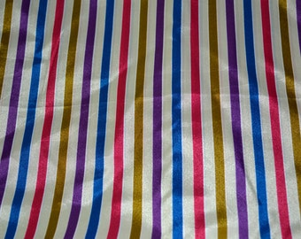 Vintage Multi colored Striped Fabric 1980s