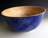 large serving bowl, Blue bowl is ready to ship, Stoneware serving bowl, Salad bowl, mixing bowls by Leslie Freeman