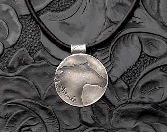 Rustic Fine Silver Horse Pendant with Braided Leather Necklace