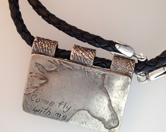 Come fly with me Fine Silver Horse Pendant with Braided Leather Necklace