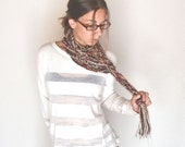 50% OFF Crochet Rope Scarf Long Loop Neck Warmer Beige Tan Tomato Red Multi Ways to Wrap
