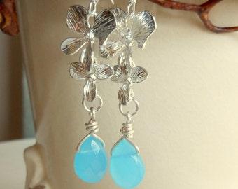 Silver Orchid Earrings,Wedding Earrings,Aqua Blue Crystal Earrings,Teardrop Earrings