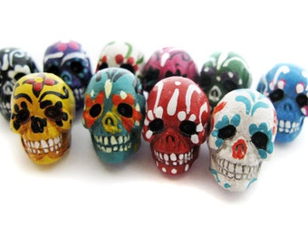 20 Large Sugar Skull Beads - ceramic, skull, skulls, peruvian, day of the dead, dia de los muertos, halloween - LG639