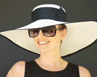 Wedding Hat, Kentucky Derby Hat, Wide Brim Hat, Black & white hat. Ascot Hat, Formal Hat, Church Hat, Special Occasion Hat, big hat