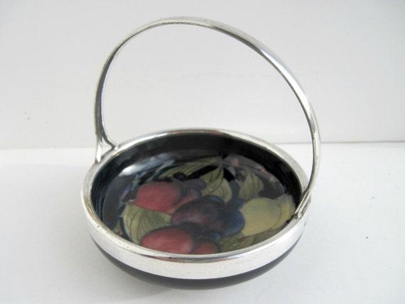 Rare William MOORCROFT Pottery  WISTERIA Bonbon Bowl Silver Handle c.1918-28  REDUCED