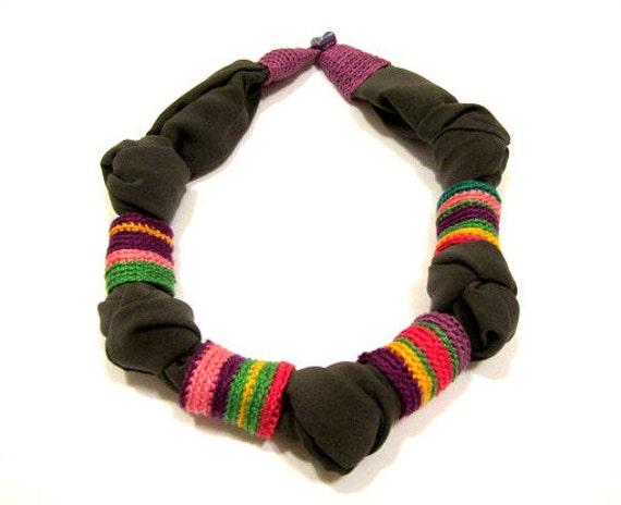 Textile Crochet Fiber Gray Fabric Handmade Necklace