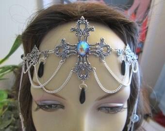 Ebon Cross Circlet of the Vampire Maiden Elven Celtic Druid LARP Bridal Renaissance