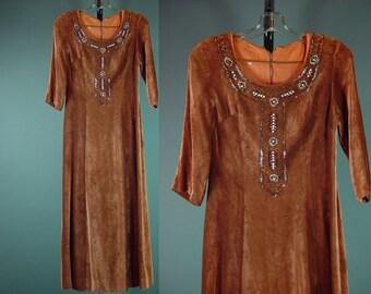 70s Velvet Dress Velvet Beaded Hippie Boho Bohemian Festival Long Midi Rayon XS