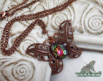Cosmic Butterfly -- Enchanted Rainbows Fantasy Necklace with rainbow vitrail glass filigree detail