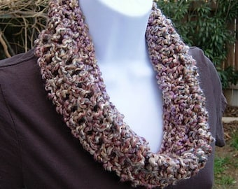 Summer Cowl, Soft Summer Scarf, Small Knit Cowl, Short Infinity Scarf, Crochet Scarf, Small Loop, Beige Tan Pink Light Purple, Neck Warmer