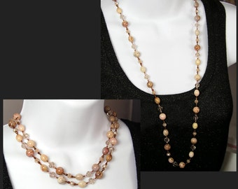 Moroccan Agate Necklace Natural Stone Necklace Neutral Earth Tone Necklace Beaded Gemstone Necklace Long Strung Necklace