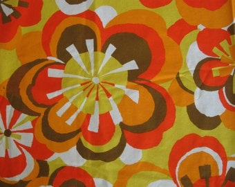 MOD Vintage Cotton Fabric FLOWER POWER Orange Brown Chartreuse Psychedelic
