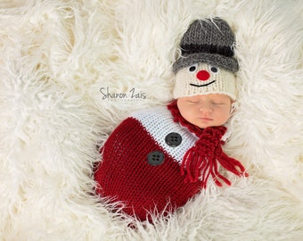 Santa Red White Swaddle Sack Newborn Baby Photography Prop