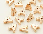 IN-234-RG / 2 Pcs - Initial Tiny Pendant, Alphabet, Capital letter, Upper case, A, Rose Gold Plated over Brass / 5mm x 7mm