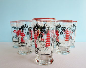 Vintage Libbey Glassware - Red Rimmed Glasses - Set of 4