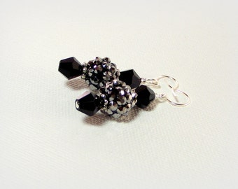 Black Diamonds Pave and Crystal Earrings