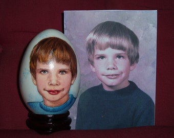 Hand Painted Portrait On Goose Egg Shell, Egg Art, Art Eggs