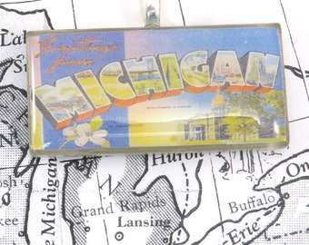 Greetings from MICHIGAN Vintage Large Letter Postcard Pendant Necklace